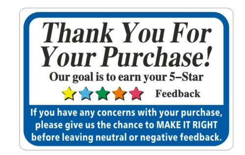 """Thank You For Your Purchase Label Stickers Rolls Of 100, 250, 500 or 1000 2"""" x 3"""
