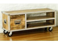 Brand New Baumhaus Roadie Chic Solid Reclaimed Wood Widescreen TV Cabinet Unit Stand - RRP £450