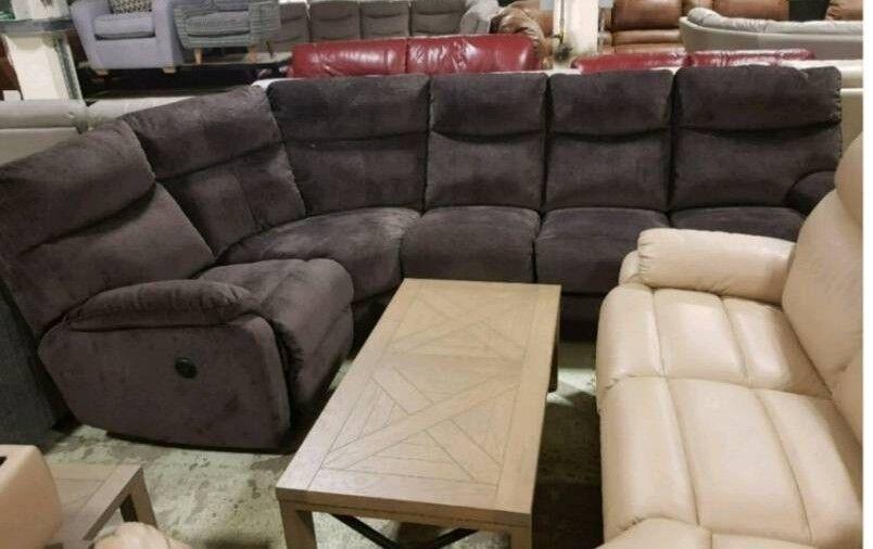 Brown fabric corner sofa electric recliner