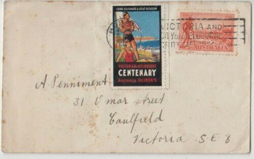 Stamp 1934 Cinderella life saving Melbourne Victoria Centenary cover & postmark