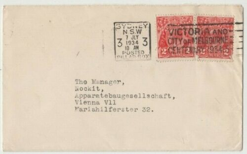 Stamps 2d KGV x 2 on cover 1934 Melbourne Victoria Centenary slogan postmark