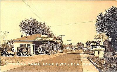 Lake City FL Duval Camp Gas Station Bus Station Old Cars RPPC Postcard