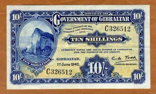 Gibraltar, 10 shillings, 1942, P-14b, WWII, VF