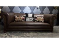Stunning Unique Chesterfield 1920s 3 Seater Sofa Brown Leather Hardwood Frame - UK Delivery