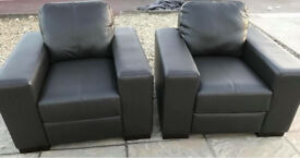 2 x DFS Stobart Mocha Leather Armchair