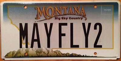 Montana vanity MAY FLY license plate Aviation Pilot Plane Aircraft Bird Boeing