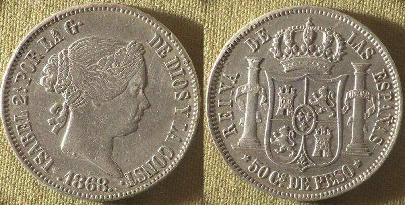 Philippines : 1868 50 Ct CH.AU/CH.AU-UNC Nice #147 IR9006