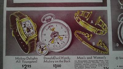 Vintage 1940 Disney Mickey Mouse Donald Duck watch ad catalog advertising