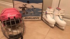 Kids ice skates with helmet. Used only once mint condition