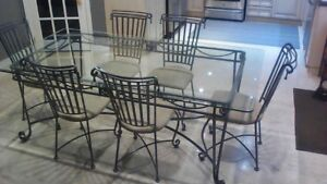 Wrought Iron, Custom XL Table and Chairs
