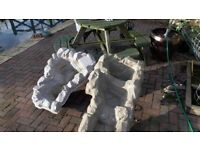 Water fall features 2 Fibre glass 1 x m 1 x 1.3 m ideal for small or medium garden pond. Used cond.