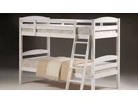 **100% CHEAPEST PRICE!**Brand New Solid Wooden White Bunk Bed With Mattress-Single Bed/Double Bed