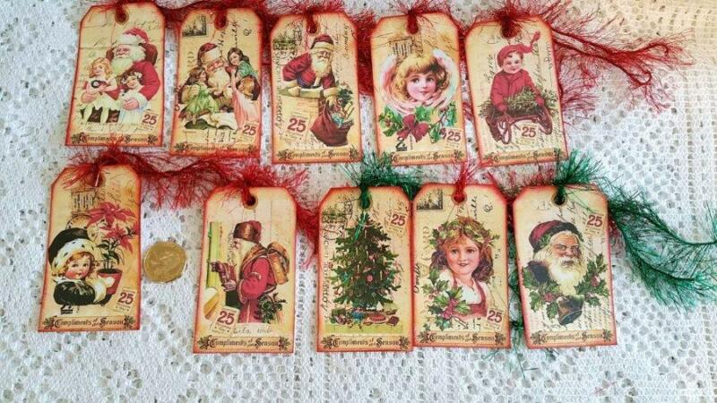 10~Christmas~Vintage~VTG~Kids~Santa~Fussy Cut~Linen Cardstock~Gift~Hang~Tags