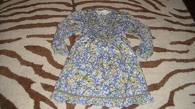 HIGH END BOUTIQUE PAPO D' ANJO 8 YR GORGEOUS BLUE FLORAL DRESS](High End Girls Clothes)