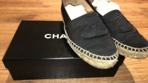 Chanel Espadrilles black satin