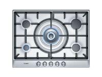 5 burner gas hob with wok style central burner brushed steel (used)