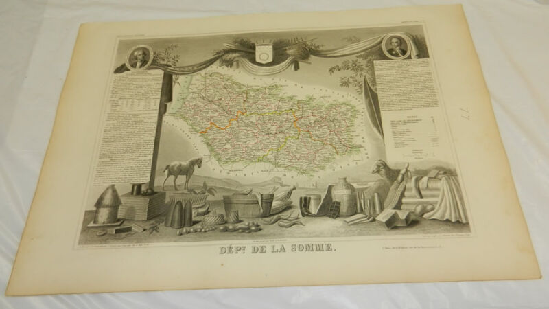 1856 Antique Color Map/FRANCE, DEPT. DE LA SOMME/Outstanding Graphics