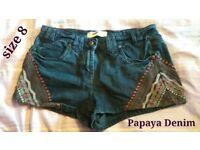 Very short denim shorts size 8 by Papaya Denim £8.95