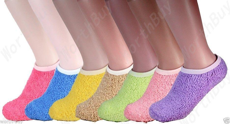 Non Skid 6 Pairs Womens Bed Room Slipper Socks Cozy Fuzzy So