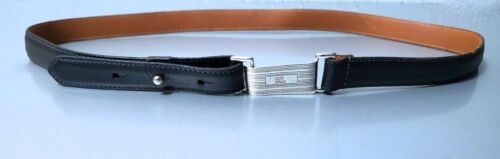 RALPH LAUREN NAVY  CALF-LEATHER GIRLS ENGINE-TURNED BUCKLE  LEATHER BELT SZ:M