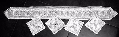 Judaica Silver Embroidered Atara For Tallit Neck Band With 4 Matching Corners