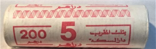 MOROCCO UNOPENED BANK WRAPPED ROLL of 40 BIMETAL 5 DIRHAM COINS KM# 82 of 1987