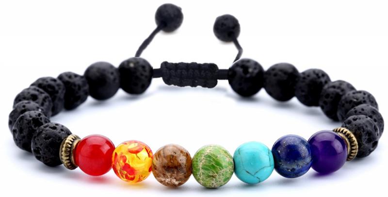 Bracelet - 8mm Lava Rock 7 Chakras Beads Bracelet Braided Rope Natural Stone Yoga Bracelet