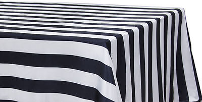 Black And White Striped Tablecloths (BLACK & WHITE STRIPED SATIN TABLECLOTHS 60
