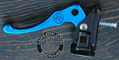 Blue Old School BMX Bike MX Alloy Brake Lever Fixed Gear Fixie Vintage Bicycle