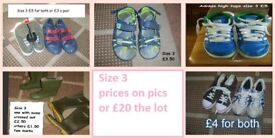 boys shoes, wellies, trainers prices on pictures or £20 the lot some new collection from didcot