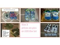 boys shoes size 3 prices on pictures or £20 the lot collection only from didcot