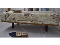 Stunning handmade large Footstool with Antique style Atlas fabric - absolutely faboulous