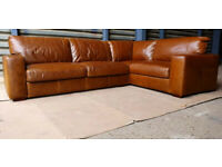High Quality Habitat Eton Large Corner Leather Sofa - Tan