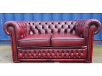 Two Seater Chesterfield Sofa, REF: 7, Red