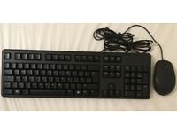 Genuine Dell Keyboard KB212-B & Mouse SET Combo Used USB Wired QWERTY UK Layout