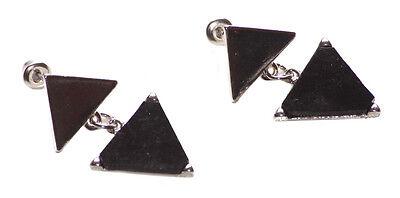 Chrome Pyramid Stud (Unique & Modern Inspired Dual Coal Black & Chrome Pyramid Stud Earrings(Ns17))