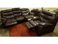 3 seater and armchair leather recliner sofas - dark chocolate