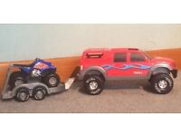 Toy pick up truck with trailer and quad bike