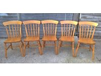 5x Solid Beech Traditional Farmhouse Spindle Back Dining Chairs ~ Country Kitchen Shabby Chic(pine)