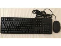 Dell Black Keyboard KB212-B & Dell Genuine Mouse Set Used QWERTY UK Layout USB