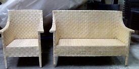 Rattan two seater and a rmchair