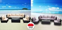 Large Lounge & Coffee Table - Black Rattan Wicker Latte Cushions Nerang Gold Coast West Preview