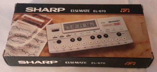 NOS Vintage Electronic Calculator SHARP Elsi Mate EL-670 Compact Keyboard Music
