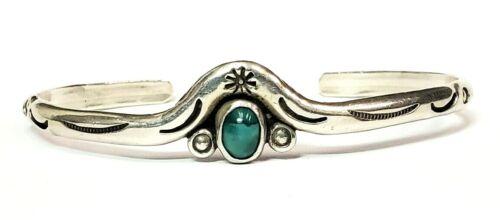 Rare Vintage Sterling Silver Designer HP Greenish Stone Bangle Bracelet 6 1/8