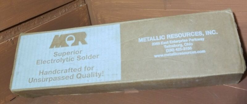 25lbs Metallic Resources electrolytic TIN Solder bars,  new! SC63