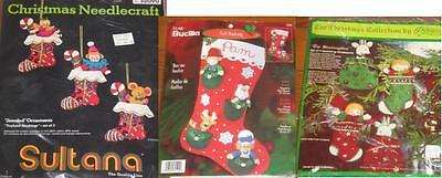 Bucilla Christmas Jeweled Felt Stocking Kit + 2 Ornament Lot