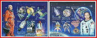 DJIBOUTI 2000 ASTRONAUT JOHN GLENN ARMSTRONG In SPACE X2 M/S SC 825-26 MNH - $4.55