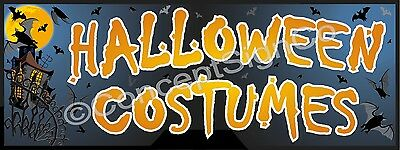 1.5'X4' HALLOWEEN COSTUMES BANNER Outdoor Indoor Sign Retail Stores Outfits Sale - Halloween Costumes Retail Stores
