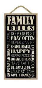 FAMILY RULES Inspirational Primitive Wood Hanging Sign 5