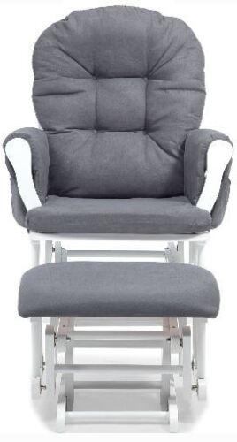 Baby Rocker Glider Nursery Rocking Chair and Nursing Ottoman Stool Gray White